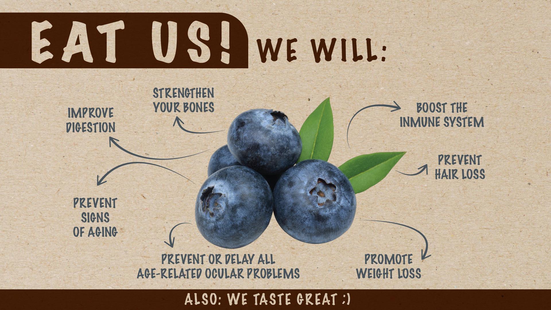 Eat us! Blueberries
